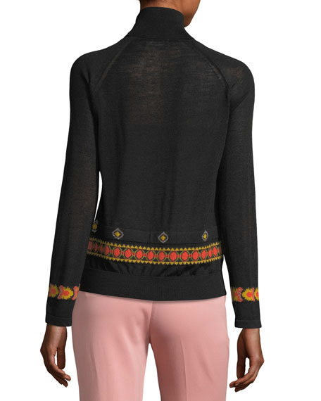 Diamond-Pattern Turtleneck Sweater