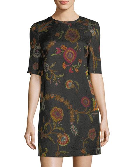 Short-Sleeve Paisley Tunic Dress