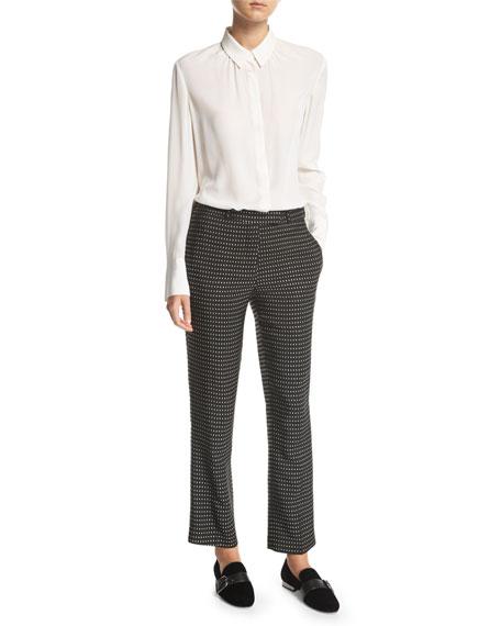 Cropped Dot-Pattern Pants