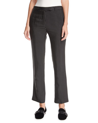 Cropped Dot-Pattern Pants