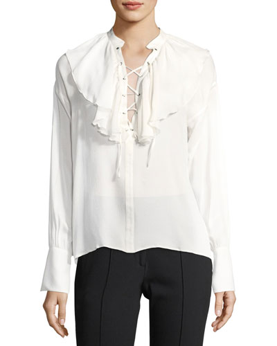 Ruffled Lace-Up Silk Blouse