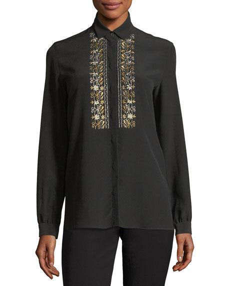 Metallic-Embroidered Silk Blouse