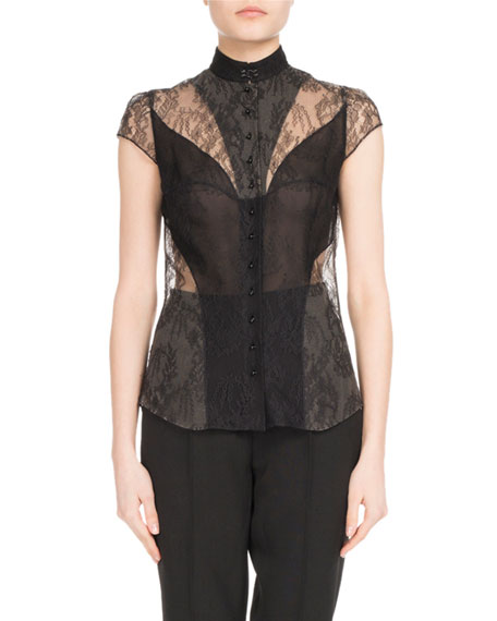 Cap-Sleeve Lace Blouse