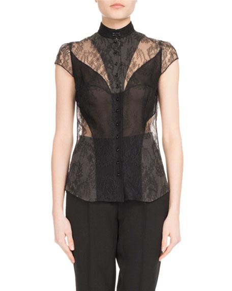 OLIVIER THEYSKENS Cap-Sleeve Lace Blouse in Black