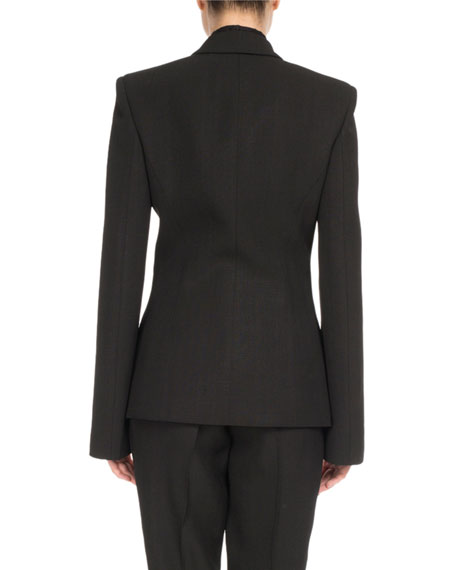 Hook-Front Notch-Collar Jacket