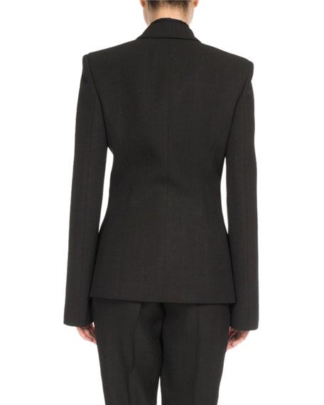 Hook-Front Notch-Collar Jacket