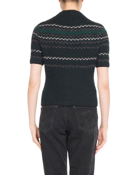 Plaid Knit Short-Sleeve Sweater