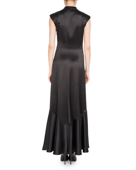 Cap-Sleeve Button-Front Silk Gown