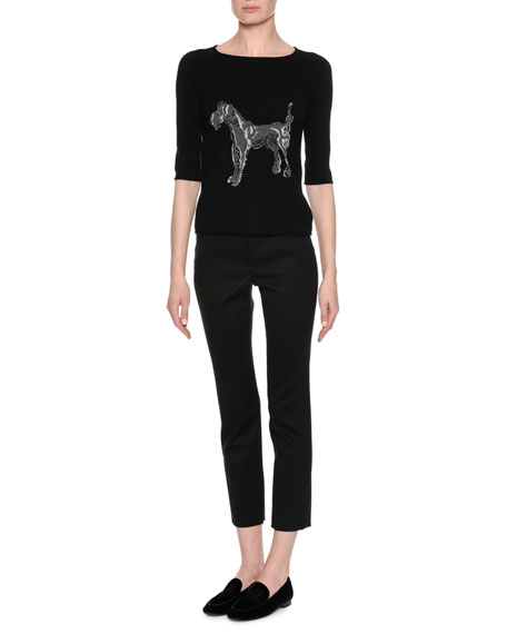 Dog-Embroidered 3/4-Sleeve Sweater