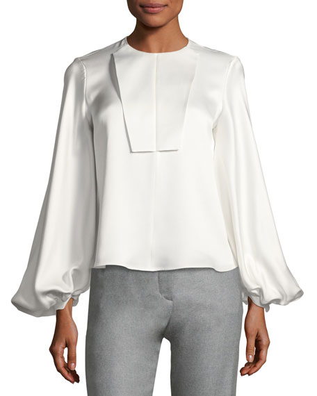 Heavy Satin Bishop-Sleeve Blouse