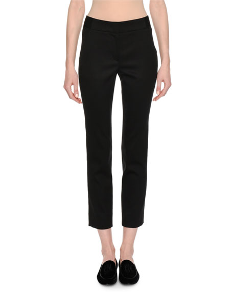 Classic Cropped Stretch-Wool Pants