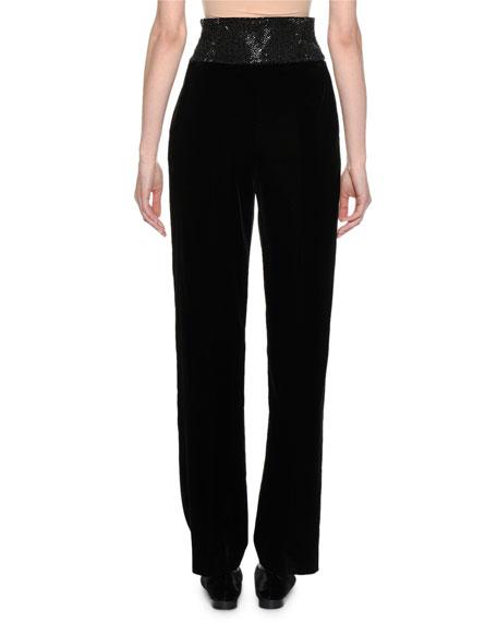Straight-Leg Velvet Pants w/Embroidered Waist