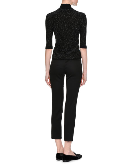 Micro Sequined Mock-Neck Sweater