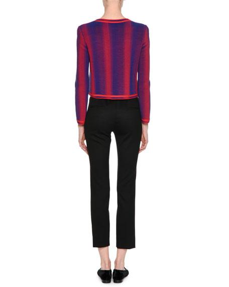 Zip-Front Ottoman Knit Jacket