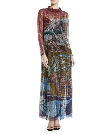 Embroidered Mock-Neck Gown