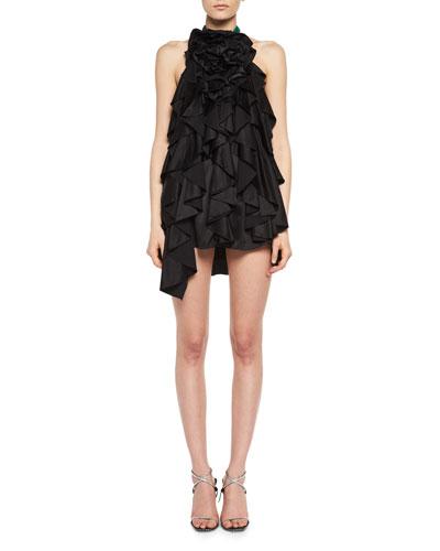 Ruffled Satin Halter Mini Dress
