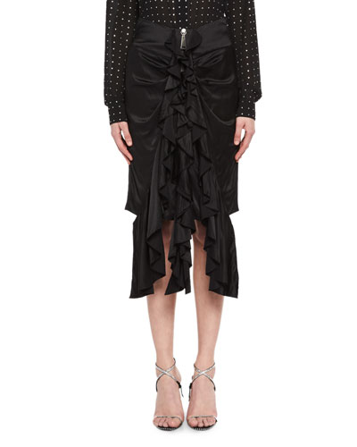 Silk Satin Ruffle-Front Skirt