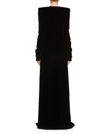 Long-Sleeve Velvet Crystal-Slit Gown