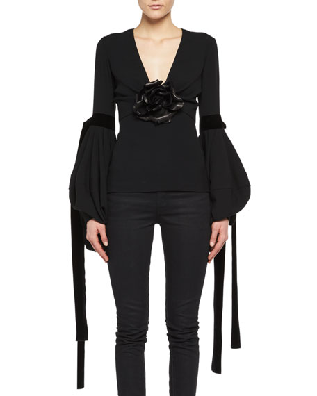 Bishop-Sleeve Top with Leather Flower
