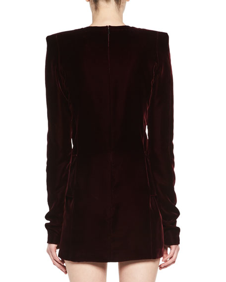 Long-Sleeve Velvet Drop-Waist Dress