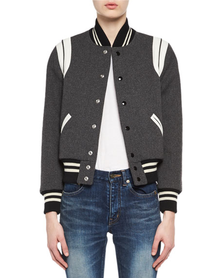 Classic Teddy Virgin Wool Bomber Jacket