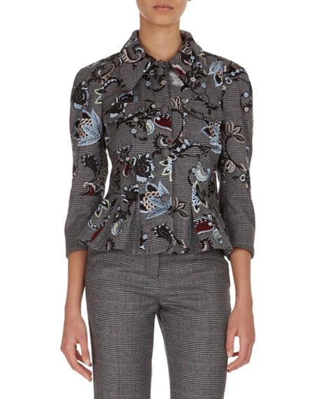 Shari Embroidered Plaid Jacket