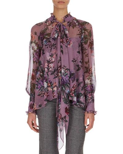 Isabelle Floral-Print Tie-Neck Blouse