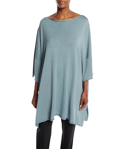 Half-Sleeve Side-Slit Silk Top