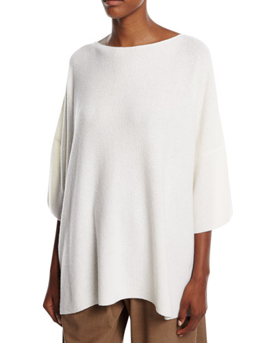 Knit Cashmere 3/4-Sleeve Sweater