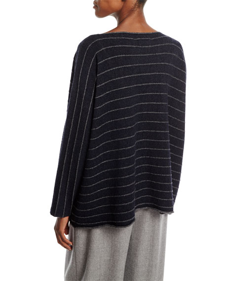 Striped Knit Merino Wool Sweater