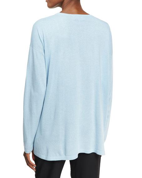 Round-Neck Knit Silk Top