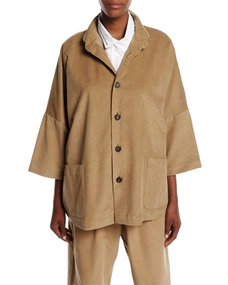 Slope-Shoulder Button-Front Corduroy Jacket