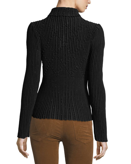 Ribbed Metallic-Knit Turtleneck Sweater