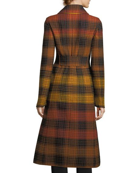 Notch-Collar Plaid Wool Coat
