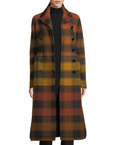 Notch-Collar Plaid Wool Coat