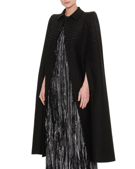 Studded Wool-Blend Cape Coat