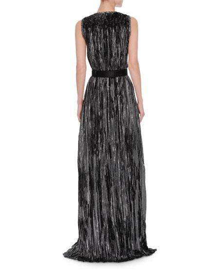 Sleeveless Metallic Jacquard Gown