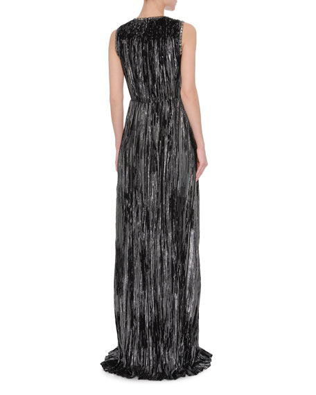 Sleeveless Metallic Jacquard Gown