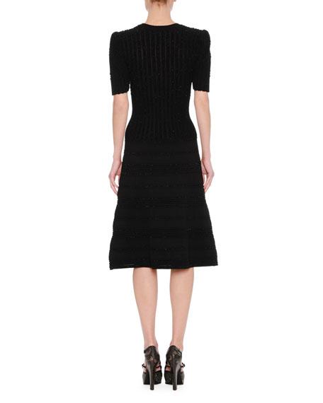 Elbow-Sleeve Midi Cocktail Dress