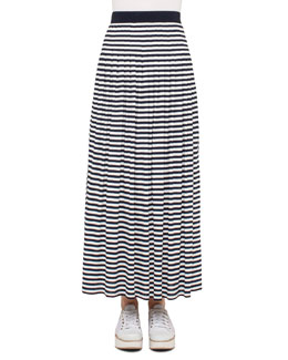 Striped Pleated Maxi Skirt, Navy/Cream