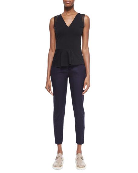 Vivian Skinny Suiting Zip-Cuff Ankle Pants, Navy