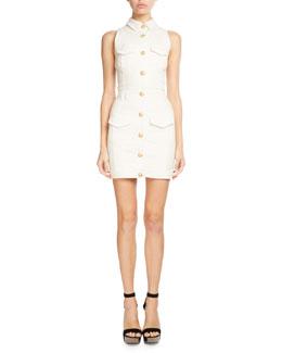 Sleeveless Denim Shirtdress, White