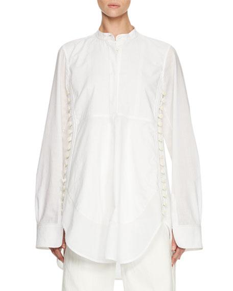 Chloe Side-Button Long-Sleeve Tunic, White