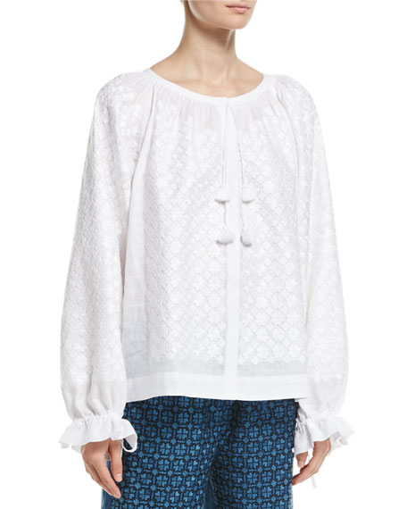Embroidered Linen Tie-Cuff Top