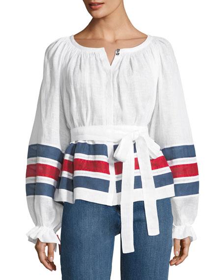Striped Tie-Waist Linen Top