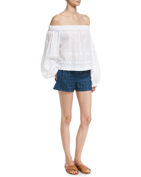 Geometric-Embroidered Linen Shorts
