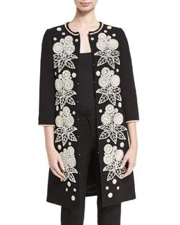 Pearly Beaded Mid-Length Coat