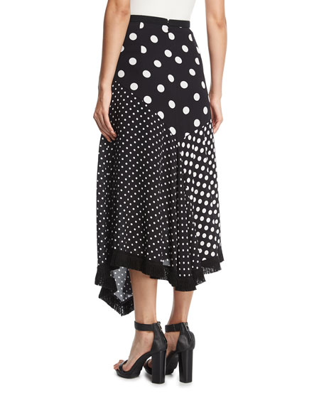 Asymmetric Polka-Dot Skirt w/ Fringed Handkerchief Hem