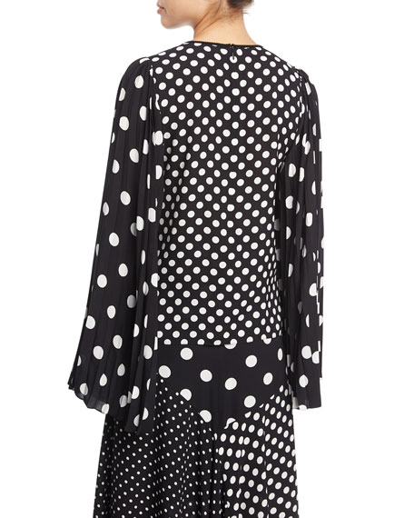 Long Bell-Sleeve Polka-Dot Blouse