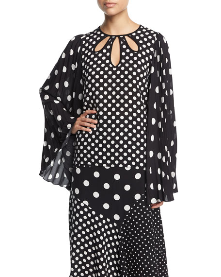 Andrew Gn Long Bell-Sleeve Polka-Dot Blouse